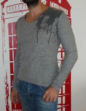 Top pull col V SALSA Jeans gris 80% laine en TBE !! Taille S