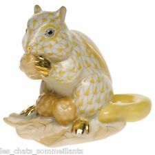 HEREND, CHIPMUNK with BERRIES PORCELAIN FIGURINE, BUTTERSCOTCH, FLAWLESS