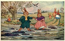 Medici Postcard Pk 106 M. Tempest Dressed Rabbits Cross Stream Stepping Stones