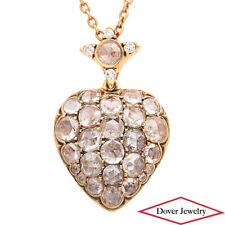Estate Diamond 1.91ct Ruby 18K Gold Heart Pendant Chain Necklace 7.9 Grams NR