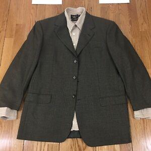 BRIONI NOMENTANO WOOL 3 BUTTON Gingham Suit Blazer SPORT COAT JACKET  44L
