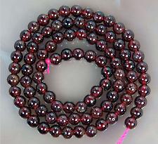 """4mm Natural DarkRed Garnet Round Bead 15.5"""""""