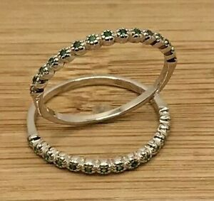 925 Sterling Silver Emerald Set of Two Rings Size 6