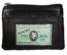 Women's Leather Black Small Coin Purse Change Zipper Close Wallet