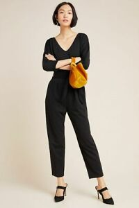 NEW Anthropologie black belted Sutton Ponte Jumpsuit Dolman Sleeve SZ Large L