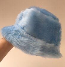 Baby Blue Faux Fur Bucket Hat - Handmade - Festival