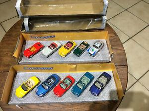 Cararama - 2 x Coffrets 5 Voitures Sport Cabriolet- 1/43 - Porsche, Mercedes, MG