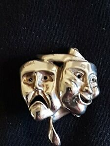 Vintage Ola Gorie Sterling Silver Brooch Comedy Playhouse Tragedy Theatre Boxed