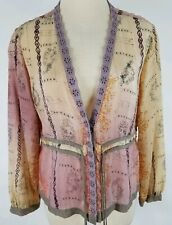 J JILL Whimsical Sheer Shirt Jacket Size MP Yellow Purple Lace Tie Button Front
