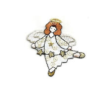 Angel - Stars - Christmas - Embroidered Iron On Patch - A