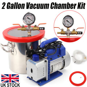2 Gallon  Vacuum Chamber Kit 3CFM 1/4HP Desiccators Epoxies Degassing Urethane