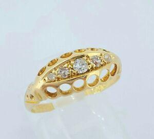 Beautiful Antique 1911 18ct Yellow Gold & Diamond 5 Stone Engagement Ring UK J/K