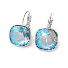 Rainbow Sky Blue Crystal Drop Earrings made w/ Cushion Cut Swarovski Rhinestones