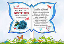 BROTHER BUTTERFLY SHAPED MEMORIAL  GRAVESIDE CARD & FREE HOLDER