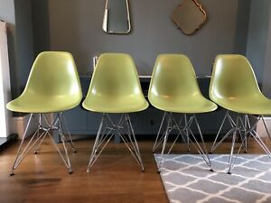 Set Of 4 Vitra Eames Chairs With Chrome Legs In Lime Green