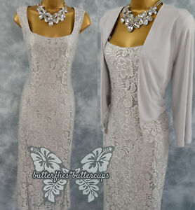 Beautiful Size 16 BNWT Silver Lace Dress & Jacket Suit Mother of the Bride