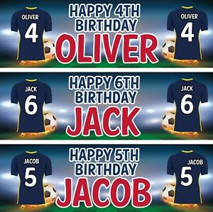 2 personalised birthday banner football sports children kid party poster deco