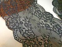 Premium Quality 7inch/18Cm Stunning Black Double Edge Stretch Galloon Lace Trim