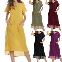 Women Summer Plus Size Casual Loose Pocket Cotton Linen Long Maxi Dress Kaftan
