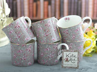 Set of 6 KATIE ALICE Ditsy Grey Floral BONE CHINA Shabby Chic MUGS Vintage Style