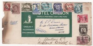 1940's PERU Air Mail Cover Front LIMA to LONDON Redirected to BRISTOL GB