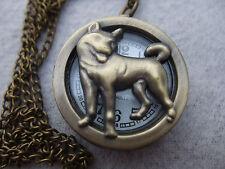 NEW Wolf Dog Antique Bronze Quartz Pocket Watch on Chain from Thailand