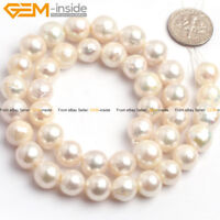 """Natural White Round Edison Nucleated Pearl Loose Beads Jewelry Making Strand 15"""""""