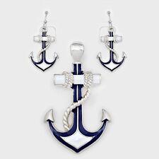 Anchor Pendant Earrings Beach Nautical Sealife SILVER BLUE WHITE Sailor Jewelry
