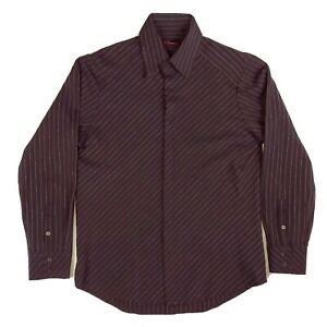 7 Diamonds L Black Diagonal Striped Long Sleeve Textured Dress Shirt