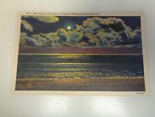 Moonlight on Ocean, Wildwood, New Jersey 1940's Linen Postcard