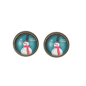 Vintage Bronze Round Charm Christmas Snowmen Stud Earrings Gift E673