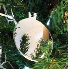 Argent miroir boule en forme de décorations ARBRE NOËL, & vert ruban, Paquet 10