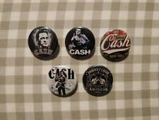 5 x Johnny Cash buttons (country rock, badges, pins,american recordings,vinyl)