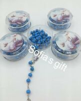 24pcs BAPTISM PARTY FAVORS ROSARY BLUE WOOD RECUERDOS DE BAUTIZO  BOYS ROSARIES