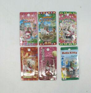 Sanrio Hello Kitty Charm Strap Gotochi Kyoto Oita Hiroshima Japan Set of 6 AS-IS