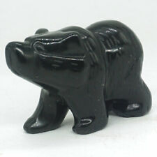 "2""Natural Stone Black Obsidian Bear Figurine Carved Animal Statue Home Decor3671"