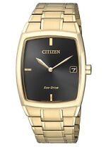 Citizen Mens Gold Stainless Steel Eco-drive Date Watch Au1072-87e