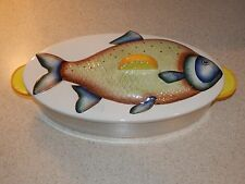 "RADFORD CHINA ENGLAND FISH DECOR BAKER 13"" HAND PAINTED LEMON TAB HANDLES"