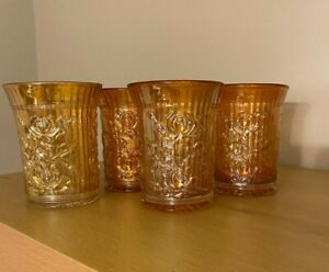 Vintage Carnival Glass Imperial Lustre Rose Four Tumblers