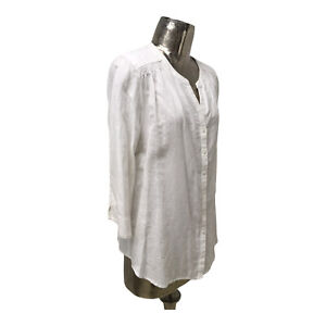 Olsen NEW Ladies/Womens White Linen Shirt Jacket Top UK Size 18 (EU 46) RRP £99