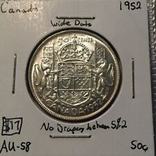1952 50 Cents Canada No Drapery - Die Crack @ 5 & 2  No Reserve! (Coin #469)