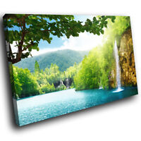 SC474 Colourful Waterfall Nature Landscape Canvas Wall Art Large Picture Prints