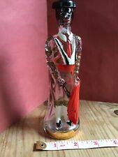 Novelty vintage glass Spanish brandy bottle kitsch 1960s Matador hand painted