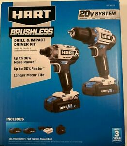 HART HPCK252B 20V Cordless Brushless Drill and Impact Combo Kit