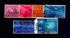 India 1954 Year Unit - Set of 6 Used Stamps - Stamp Centenary - UN-