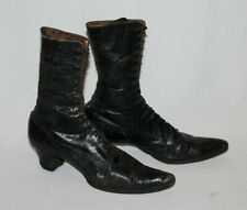 Antique Victorian Black Leather Lace Up Granny Shoes Boots Witch High Top Tall
