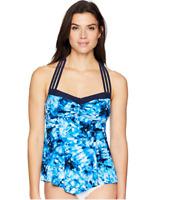 Coastal Blue Women's Control Swimwear Halter Neck Pointed Front Tankini Top, L