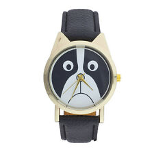 Lux Accessories Black Gold Tone PU Leather Sad Puppy Dog Animal Lover Watch