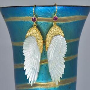 Angel Wing Carved Mother-of-Pearl Vermeil Sterling Gemstone Hook Earrings 8.04 g