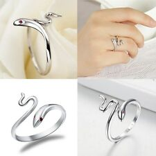 Fashion Silver Plated Opening Adjustable Snake Shaped Finger Ring Jewelry Women